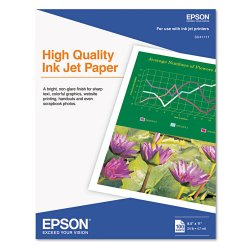"Epson - S041111 - Epson Inkjet Paper - Letter - 8.50"" x 11"" - 24 lb Basis Weight - Matte - 89 Brightness - 100 / Pack - White"
