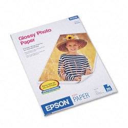 "Epson - S041141 - Epson Inkjet Print Photo Paper - Letter - 8.50"" x 11"" - 52 lb Basis Weight - Glossy - 92 Brightness - 20 / Pack - White"