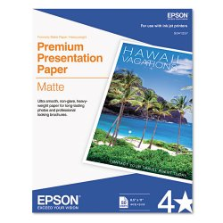 "Epson - S041257 - Epson Presentation Paper - Letter - 8.50"" x 11"" - 44 lb Basis Weight - Matte - 97 Brightness - 50 / Pack - White"