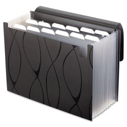 Esselte Pendaflex - 02327 - Sliding Cover Expanding File, 13 Pockets, 1/6 Tab, Letter, Black
