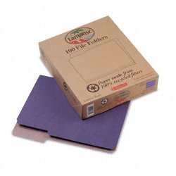 Esselte Pendaflex - 04335 - Earthwise by Pendaflex Recycled File Folders, 1/3 Top Tab, Ltr, Violet, 100/BX
