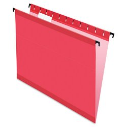 Esselte Pendaflex - ESS6152 1/5 RED - Poly Laminate Hanging Folders, Letter, 1/5 Tab, Red, 20/Box