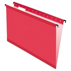 Esselte Pendaflex - ESS6153 1/5 RED - Poly Laminate Hanging Folders, Legal, 1/5 Tab, Red, 20/Box