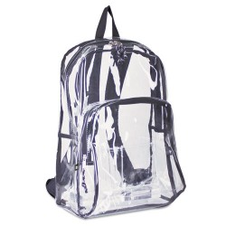 Eastsport - EST 113971PWBLK - Backpack, PVC Plastic, 12 1/2 x 5 1/2 x 17 1/2, Clear/Black