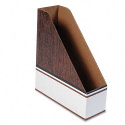 Fellowes - 07224 - Corrugated Cardboard Magazine File, 4 x 11 x 12 3/4, Wood Grain, 12/Carton