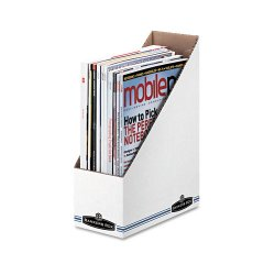 Fellowes - 10723 - Corrugated Cardboard Magazine File, 4 x 9 1/4 x 11 3/4, White, 12/Carton