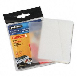 "Fellowes - 52007 - Fellowes Glossy Pouches - ID Tag not punched, 5 mil, 25 pack - Laminating Pouch/Sheet Size: 2.63"" Width x 3.88"" Length x 5 mil Thickness - Type G - Glossy - for Document, ID Card - Unpunched, Durable - Clear - 25 / Pack"
