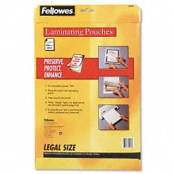 """Fellowes - 52226 - Fellowes Glossy Pouch - Legal, 3 mil, 50 pack - Sheet Size Supported: Legal - Laminating Pouch/Sheet Size: 9"""" Width x 14.50"""" Length x 3 mil Thickness - Type G - Glossy - for Document - Pre-trimmed, Durable - Clear - 50 / Pack"""