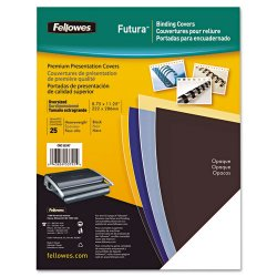 "Fellowes - 5224901 - Fellowes Futura Presentation Covers - Letter, Black, 25 pack - 11"" Height x 8.5"" Width x 0.1"" Depth - For Letter 8.50"" x 11"" Sheet - Black - Polypropylene - 25 / Pack"