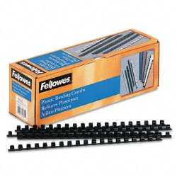 "Fellowes - 52325 - Fellowes Plastic Combs - Round Back, 3/8"", 55 sheets, Black, 100 pk - 0.4"" Height x 10.8"" Width x 0.4"" Depth - 55 x Sheet Capacity - For Letter 8.50"" x 11"" Sheet - Black - Plastic - 100 / Pack"
