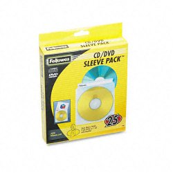 Fellowes - 90661 - Fellowes Double-Sided CD/DVD Sleeves - 25 pack - Sleeve - Plastic - Clear - 2 CD/DVD