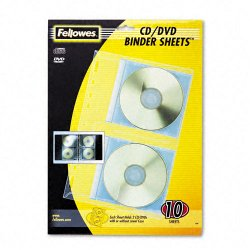 Fellowes - 95304 - Fellowes CD Binder Sheet - 10 pack - Sleeve - Slide Insert - Vinyl - Clear - 2 CD/DVD