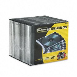 Fellowes - 98316 - Fellowes Slim Jewel Cases - 25 pack - Jewel Case - Book Fold - Polystyrene - Clear, Black - 1 CD/DVD