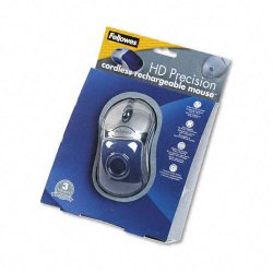 Fellowes - 98904 - Fellowes 5-Button HD Optical Mouse - Optical - Wireless - Silver, Blue - USB - Scroll Wheel