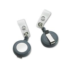 Wilson Jones - 50573 - Badgemates Plastic Retractable Name Badge Reel, 3 ft Extension, Gray, 25/Box