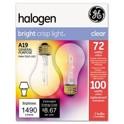 GE (General Electric) - 78798 - GE Lighting 72W Crystal Clear A19 Halogen Bulb - 72 W - 120 V AC - A19 Size - Clear Reveal - White Light Color - E26 Base - 1000 Hour - 4940.3°F (2726.8°C) Color Temperature - 100 CRI - Dimmable, Energy Saver - 2 /