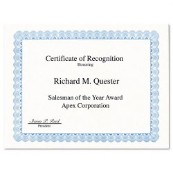 Geographics - 20008 - Parchment Paper Certificates, 8-1/2 x 11, Blue Conventional Border, 50/Pack