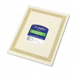 Geographics - 21015 - Parchment Paper Certificates, 8-1/2 x 11, Natural Diplomat Border, 50/Pack
