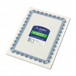Geographics - 22901 - Parchment Paper Certificates, 8-1/2 x 11, Blue Royalty Border, 50/Pack