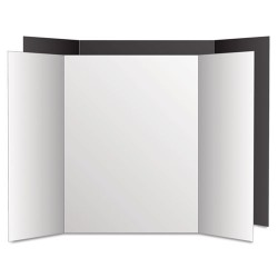 Geographics - 27136 - Too Cool Tri-Fold Poster Board, 28 x 40, White/White, 12/Carton