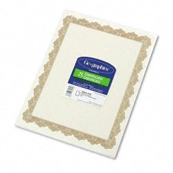 Geographics - 39451 - Parchment Paper Certificates, 8-1/2 x 11, Optima Gold Border, 25/Pack