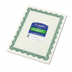 Geographics - 39452 - Parchment Paper Certificates, 8-1/2 x 11, Optima Green Border, 25/Pack