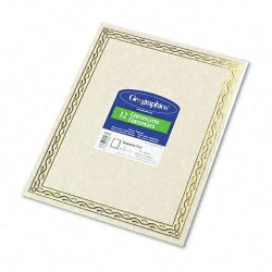 Geographics - 44407 - Foil Stamped Award Certificates, 8-1/2 x 11, Gold Serpentine Border, 12/Pack