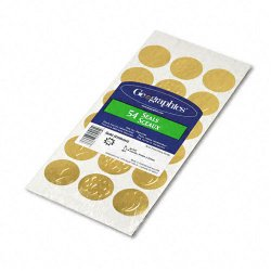 Geographics - 45204 - Self-Adhesive Embossed Seals, 1 1/4 Dia, Assorted Designs, Gold, 54/Pack