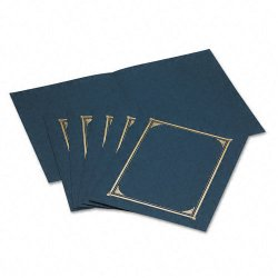 Geographics - 45332 - Geographics Linen Certificate Covers - Letter, A4+ - 8 1/2 x 11, 10 x 8, 8 17/64 x 11 11/16 Sheet Size - Linen - Navy Blue - Recycled - 6 / Pack