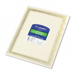 Geographics - 45492 - Foil Enhanced Certificates, 8-1/2 x 11, Gold Flourish Border, 12/Pack