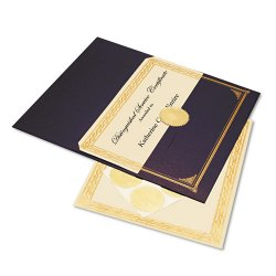 Geographics - 47481 - Ivory/Gold Foil Embossed Award Cert. Kit, Blue Metallic Cover, 8-1/2 x 11, 6/KIt