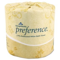 Georgia Pacific - 18280 - Preference Embossed Bathroom Tissue - 2 Ply - 4.50 x 4 - White - Soft, Durable, Absorbent - For Restroom - 550 Sheets - 80 Roll