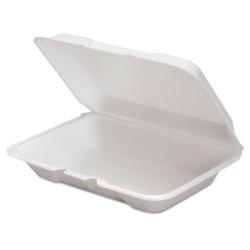 Genpak - GNP 206SS - Foam Hinged Container, 9 1/4 x 6 1/4 x 2.31, White, 100/Bag, 2 Bag/Carton