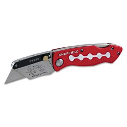 Great Neck - 58113 - Sheffield Great NeckBlade Holder Lockback Utility Knife - 0.7 Height x 4.4 Width - Aluminum Handle - Red