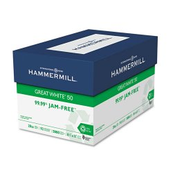 Hammermill - 86780 - Great White 50 Recycled Copy Paper, 20-lb., 8-1/2 x 11, White, 5000/Carton