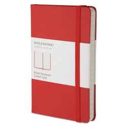 Moleskine - MM710R - Hard Cover Notebook, Ruled, 5 1/2 x 3 1/2, Red Cover, 192 Sheets