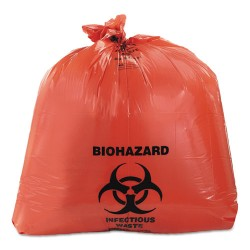 Heritage Bag - A8046ZR - Healthcare Biohazard Printed Can Liners, 40-45 gal, 3mil, 40 x 46, Red, 75/CT