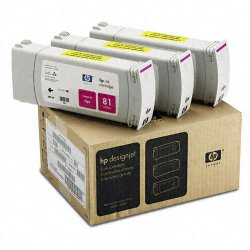 Hewlett Packard (HP) - C5068A - HP 81 Magenta Ink Cartridge - Inkjet - 722 Page, 1312 Page - 3 / Pack