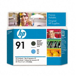 Hewlett Packard (HP) - C9460A - HP 91 Original Printhead - Single Pack - Inkjet - Matte Black, Matte Cyan - 1 Each