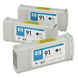 Hewlett Packard (HP) - C9480A - HP 91 Original Ink Cartridge - Multi-pack - Inkjet - Matte Black - 3 / Pack