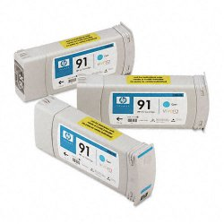 Hewlett Packard (HP) - C9483A - HP 91 Original Ink Cartridge - Multi-pack - Inkjet - Cyan - 3 / Pack