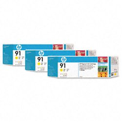 Hewlett Packard (HP) - C9485A - HP 91 Original Ink Cartridge - Multi-pack - Inkjet - Yellow - 3 / Pack
