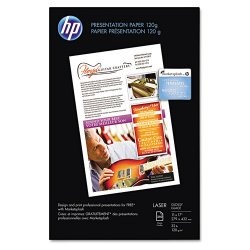"Hewlett Packard (HP) - Q2546AC - HP Presentation Paper - Letter - 8.50"" x 11"" - 34 lb Basis Weight - Glossy - 97 Brightness"