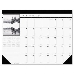 House of Doolittle - 122 - Recycled Black-and-White Photo Monthly Desk Pad Calendar, 22 x 17, 2017-2018