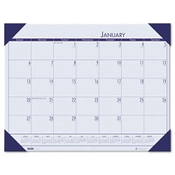 House of Doolittle - 12440 - Recycled EcoTones Ocean Blue Monthly Desk Pad Calendar, 22 x 17, 2018