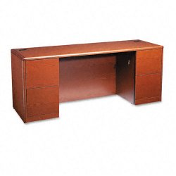 HON - 10741JJ - HON 10700 Series Kneespace Credenza - 72 x 24 x 29.5 - 4 - Double Pedestal - Waterfall Edge - Material: Wood - Finish: Henna Cherry, Laminate