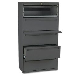 HON - 785LS - 700 Series Five-Drawer Lateral File w/Roll-Out & Posting Shelf, 36w, Charcoal