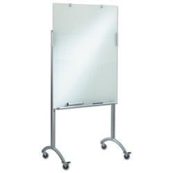 Iceberg - 31100 - Gloss-Finish Glass Dry Erase Board, Mobile/Casters, 48H x 36