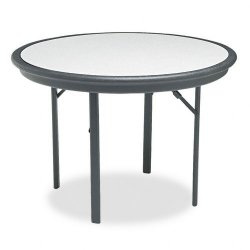 Iceberg - 65147 - Iceberg Indestruc Table Round Folding Table - Round Top x 42 Table Top Diameter - 29 Height - Black, Granite Inlay - Resinite