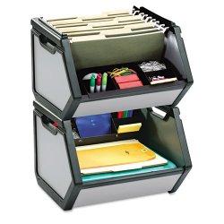 IdeaStream - FT07026 - Find It Stackable Storage Bin - 100 x File - 11.3 Height x 15 Width x 14 Depth - Desktop - Gray - Plastic - 1Each